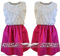 Летнее платье из батиста бело розового цвета