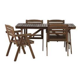 IKEA, FALHOLMEN, Стол+4 кресла, для сада, серо-коричневый (S19217858)(S192.178.58) ФАЛХОЛМЕН ИКЕА