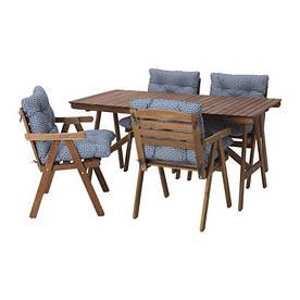 IKEA, FALHOLMEN, Стол+4 кресла, для сада, серо-коричневый, синий (S19217863)(S192.178.63) ФАЛХОЛМЕН ИКЕА