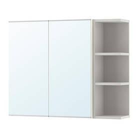 IKEA, LILLANGEN, Шкафчик с 2 зеркальными дверц./открытые полки, белый, серый, 79x21x64 см (19242508)(S192.425.08) ЛИЛЛАНГЕН ЛИЛАНГЕН ИКЕА