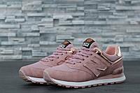 Кроссовки женские в стиле New Balance 574 код товара DD-61026. Розовые с  золотым 224bf7a1b6792