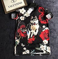 Стильная футболка Valentino с рисунком ( цветы, волк) приталенная 2018