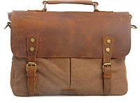 """Сумка мужская портфель с кожаным клапаном коричневая canvas """"Дикий запад"""""""