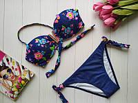 Синий купальник для девочки подростка с пуш-ап 34-40 р