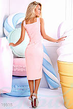 Элегантное платье средней длины с разрезом облегающее на бретельках пудрово розовое, фото 3