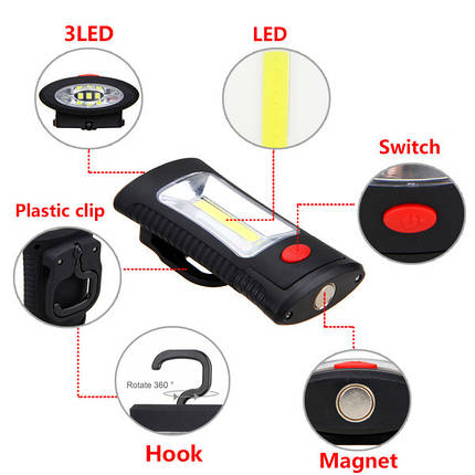 Портативный  светодиодный с магнитным, фото 2