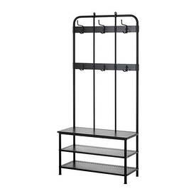 IKEA, PINNIG, Вешалка для одежды со скамейкой, черный, 193 см (20329789)(203.297.89) ПИННИГ ПИНИГ ИКЕА