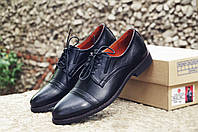 Мужские туфли дерби кожаные черные классические