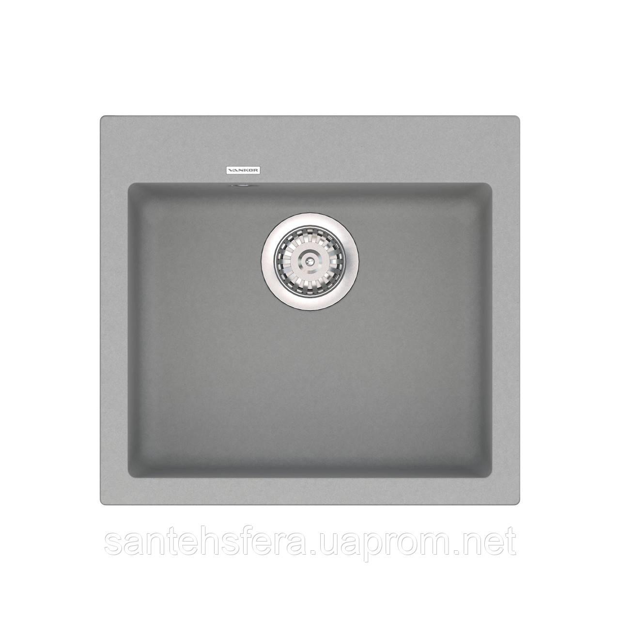 Кварцевая кухонная мойка VANKOR Orman OMP 01.49 Gray