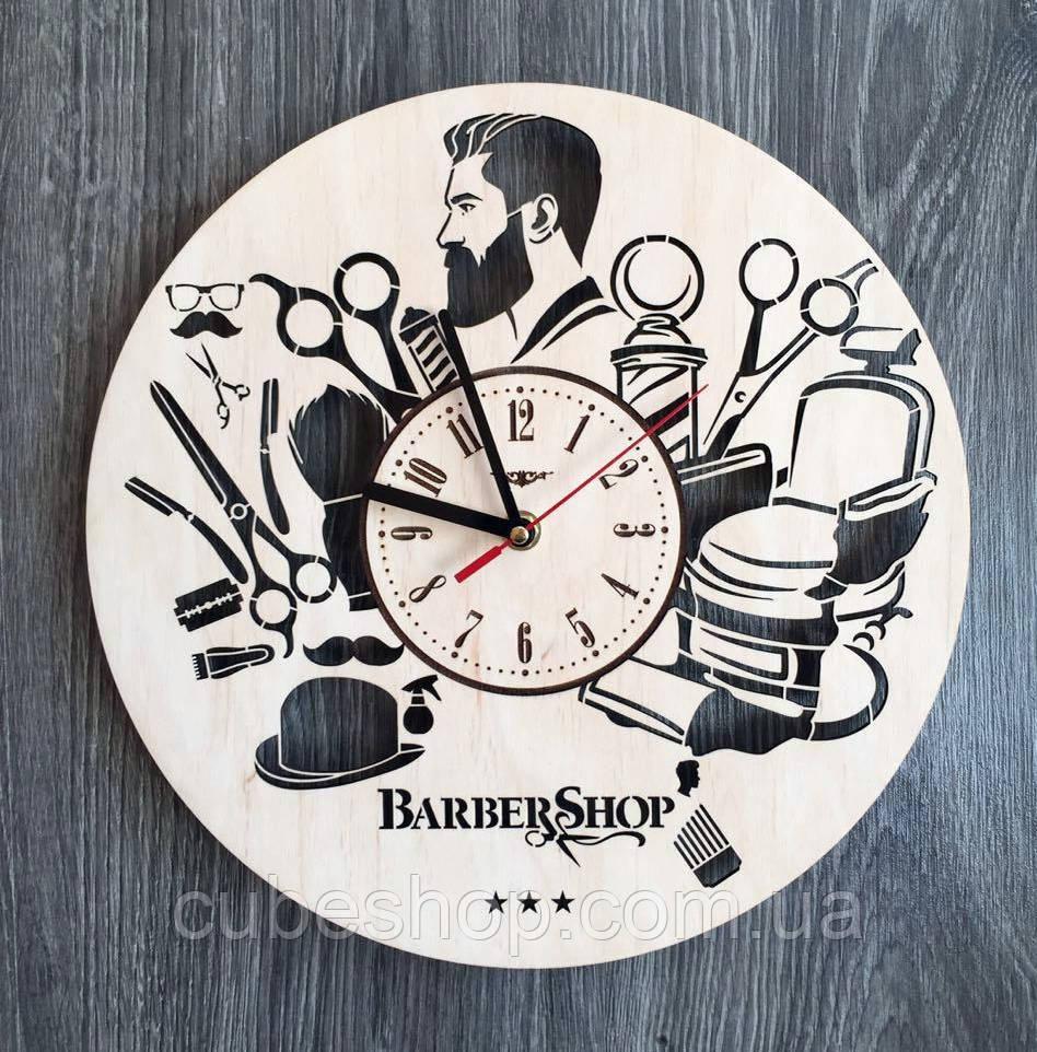 """Деревянные настенные часы """"Барбершоп"""""""