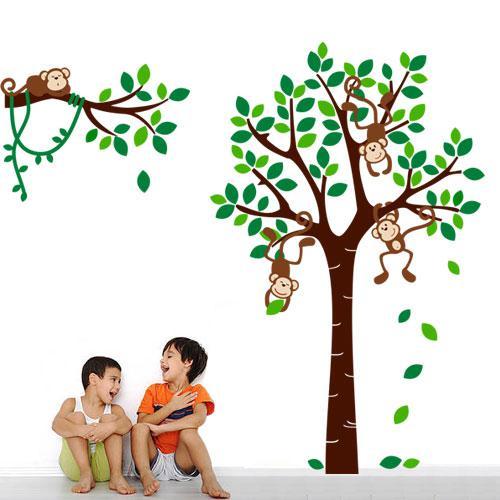 """Детская интерьерная наклейка """"Обезьянки на дереве"""""""