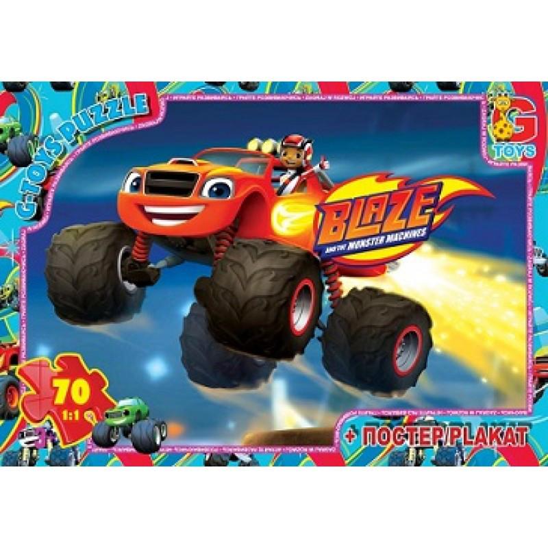 """Пазли ТМ """"G-Toys"""" із серії """"Blaze"""" (Блейз), 70 елементів ZE003"""