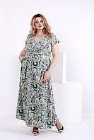 Женское платье в пол из шелка зеленые круги 0848 / размер 42-74 / большие размеры