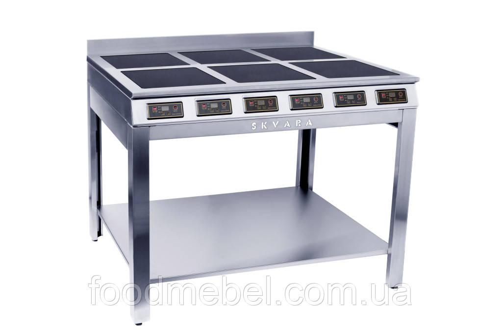 Плита индукционная профессиональная SKVARA Sif 6.18 (6х3кВт) шестиконфорочная напольная для ресторана