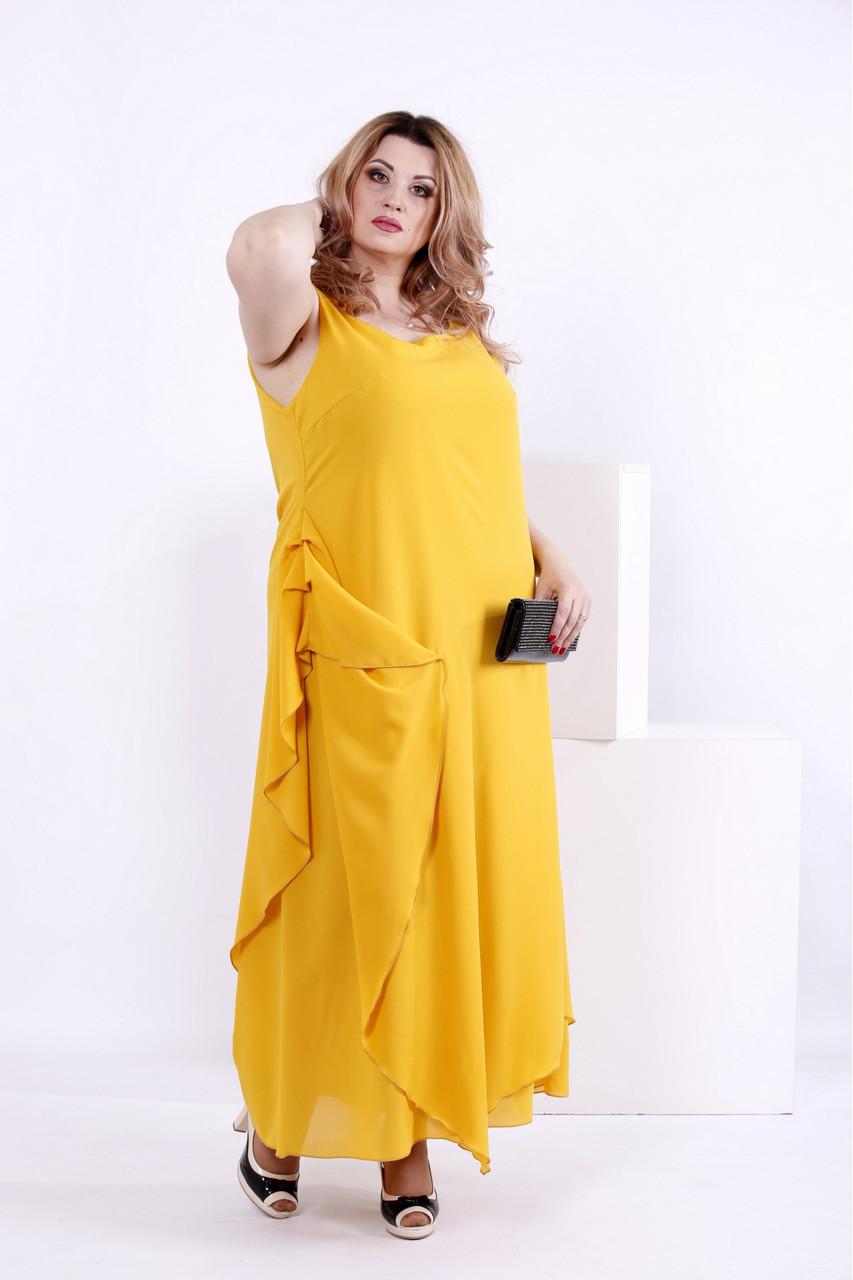 1060c4ab6d4 Женское желтое шифоновое платье 0843   размер 42-74   большие размеры -  АЛЛО МОДА