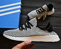 Мужские кроссовки Adidas Deerupt Grey/White. Живое фото. Реплика люкс ААА+