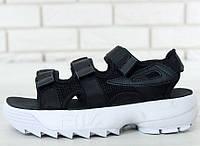 Сандали Fila Sandals black/white. Живое фото. Топ качество! (Реплика ААА+)