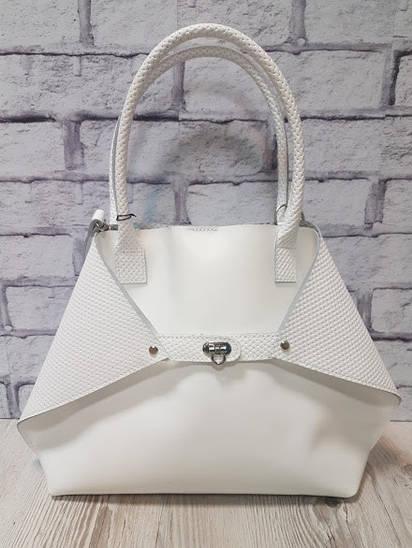 """Женская сумка """"Флай"""" натуральная кожа, белая с плетенкой"""