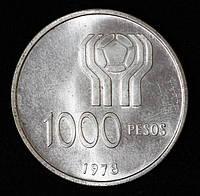 Серебряная монета Аргентины 1000 песо 1978 г.