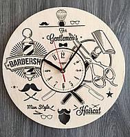 """Деревянные настенные часы """"Инструменты парикмахера"""", фото 1"""