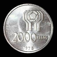 Серебряная монета Аргентины 2000 песо 1978 г.