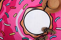 Пляжная подстилка хит 2018 / пляжный коврик розовый Пончик / парео Пончик 143 см