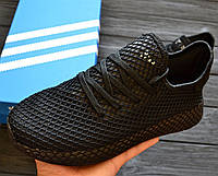 Мужские кроссовки Adidas Deerupt Triple Black. Живое фото. Реплика люкс ААА+