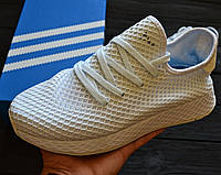 Мужские кроссовки Adidas Deerupt White. Живое фото. Реплика люкс ААА+