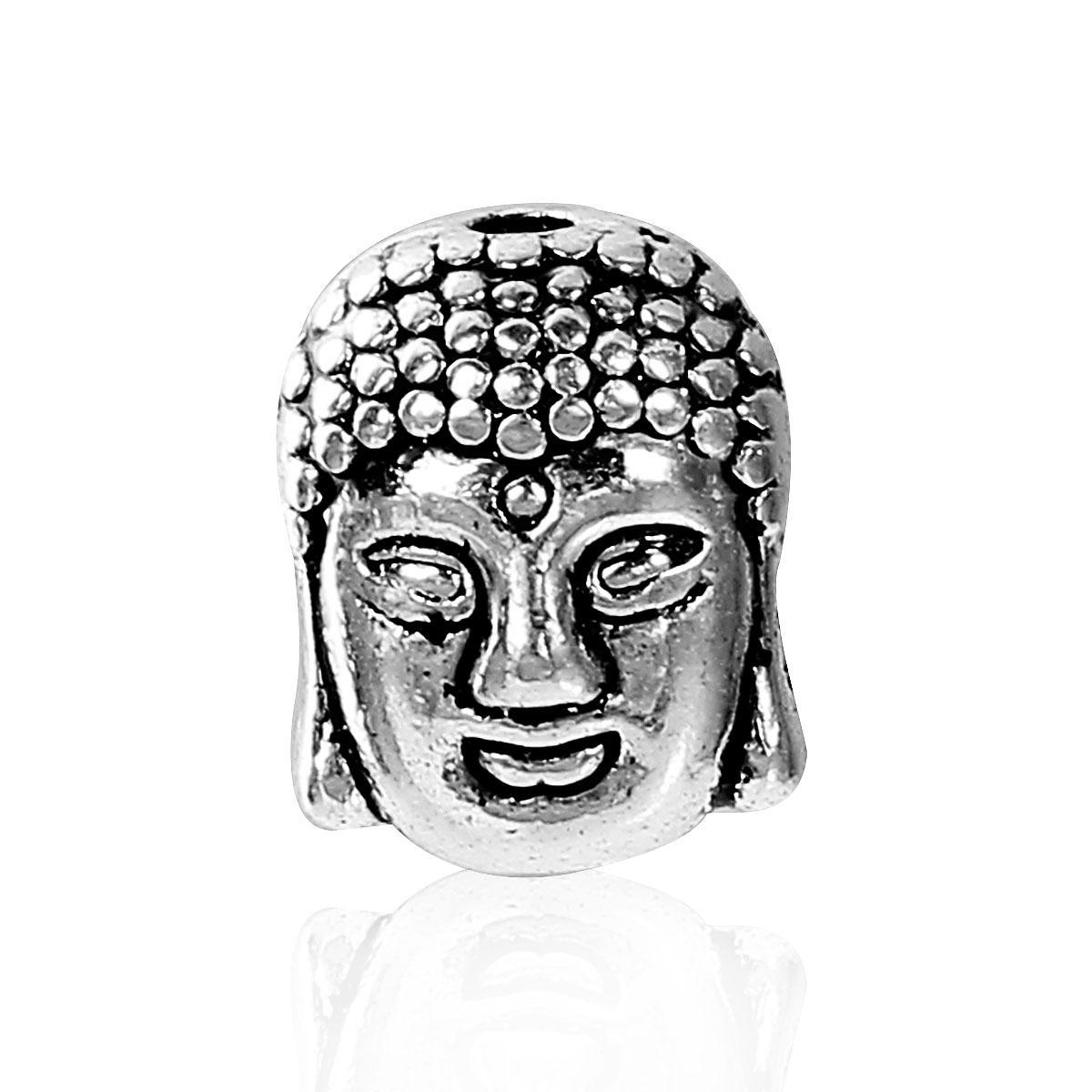 """Бусина 3D, 11 мм x 9 мм, 1.7 мм """" Будда """", Античное серебро, Цинковый сплав"""