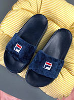 Сланцы Fila Slippers тапочки blue с мехом. Живое фото. Топ качество! (Реплика ААА+), фото 1