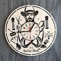 """Настінні годинники з дерева """"Барбершоп"""", фото 1"""