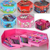 Набор канцелярский детский для рисования Cartoon 0826: карандаши, мелки, фломастеры, краски, точилка (6 видов)