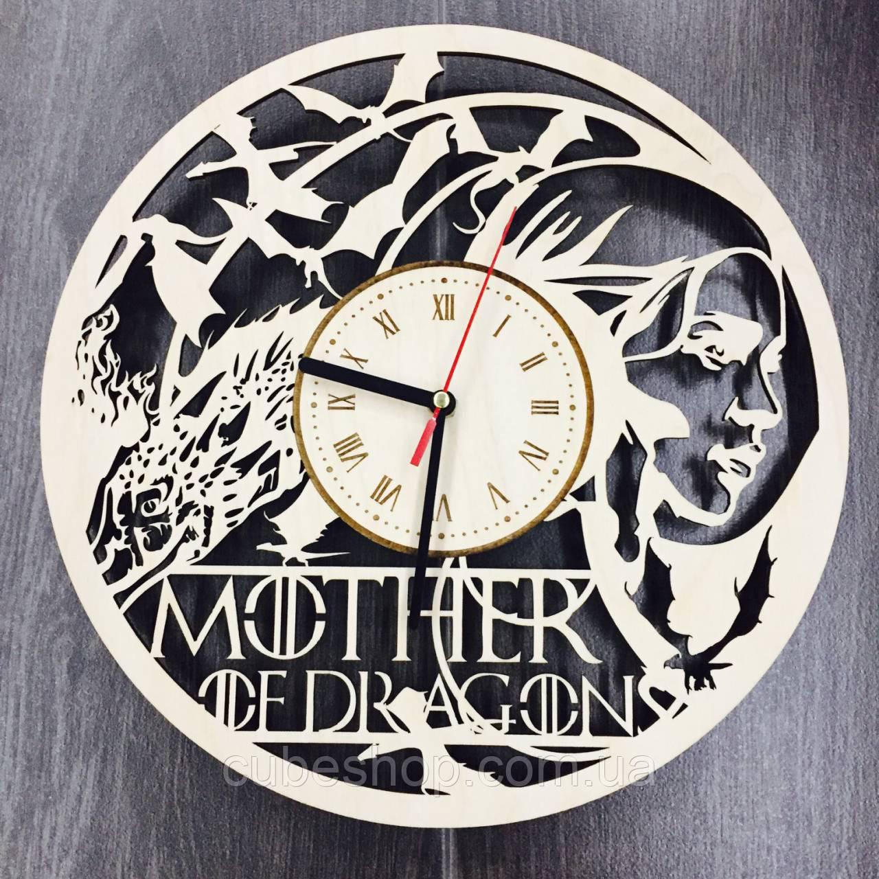 """Деревянные настенные часы """"Mother of Dragons"""""""