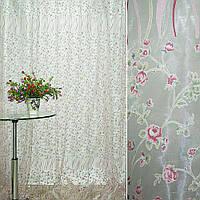 Органза Деворе белая с мелк красн цветами и куп. серпантин. ш.275