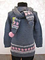 Туника вязанная в комплекте с шарфиком и гетрами для девочек