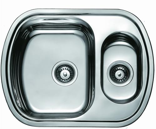 Мойка для кухни из нержавеющей стали двойная врезная овальная 63*49