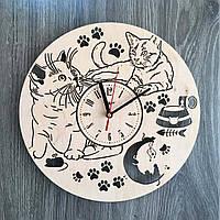 """Деревянные настенные часы """"Пушистые котики"""", фото 1"""