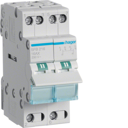 Переключатель рубильник I-0-II трехпозиционный 2P, 16А,  SFB216 Hager