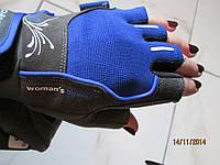 Перчатки для фитнеса синие WOMANS POWER без пальцев женские р.XS, S