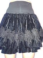 Юбка женская осенняя многослойная велюровая