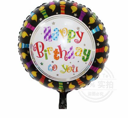 Шар круг фольгированный, HAPPY BIRTHDAY 11 - 45 см (18 дюймов)