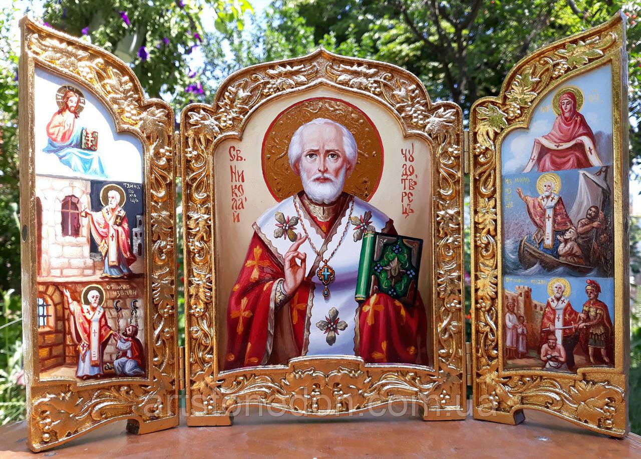 Икона складень писаная Николай Чудотворец  с сусальным золотом