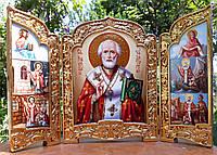 Икона складень писаная Николай Чудотворец  с сусальным золотом, фото 1