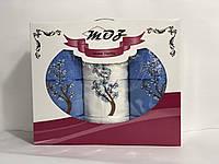 Набор полотенец цветы в подарочной коробке Турция голубой