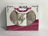 Набор полотенец цветы в подарочной коробке Турция оливковый