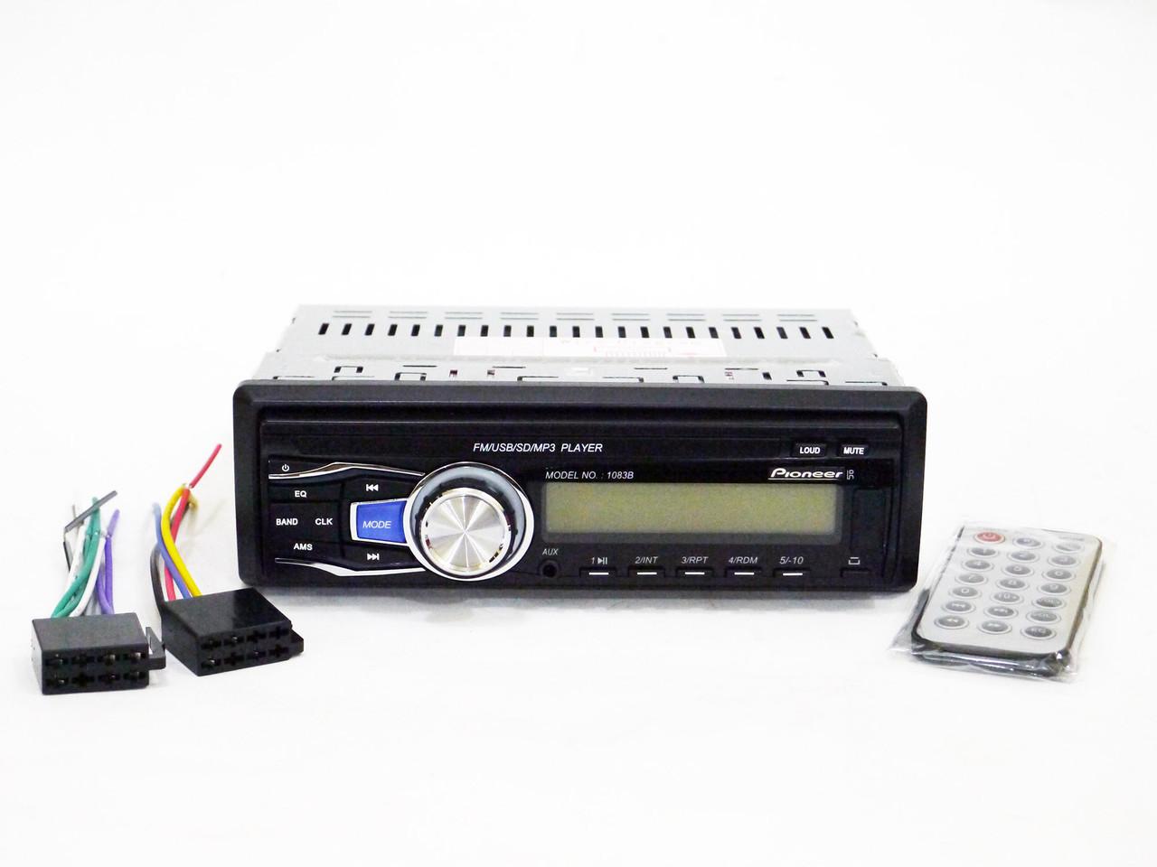Автомагнитола Pioneer 1083 Съемная панель MP3+USB+AUX+FM