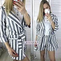 Женский летний костюм-двойка шорты в полоску и блуза с пояском d0a811038d960