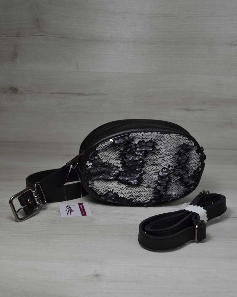 da9e3d77 Женская сумка на пояс- клатч WeLassie черного цвета Пайетки серебро-черный,  фото 1