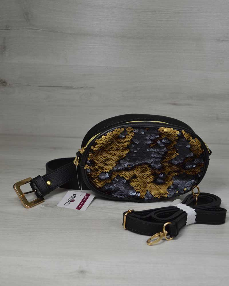 6df1a5f65b2d Женская сумка на пояс- клатч WeLassie черного цвета Пайетки золото-черный,  фото 1