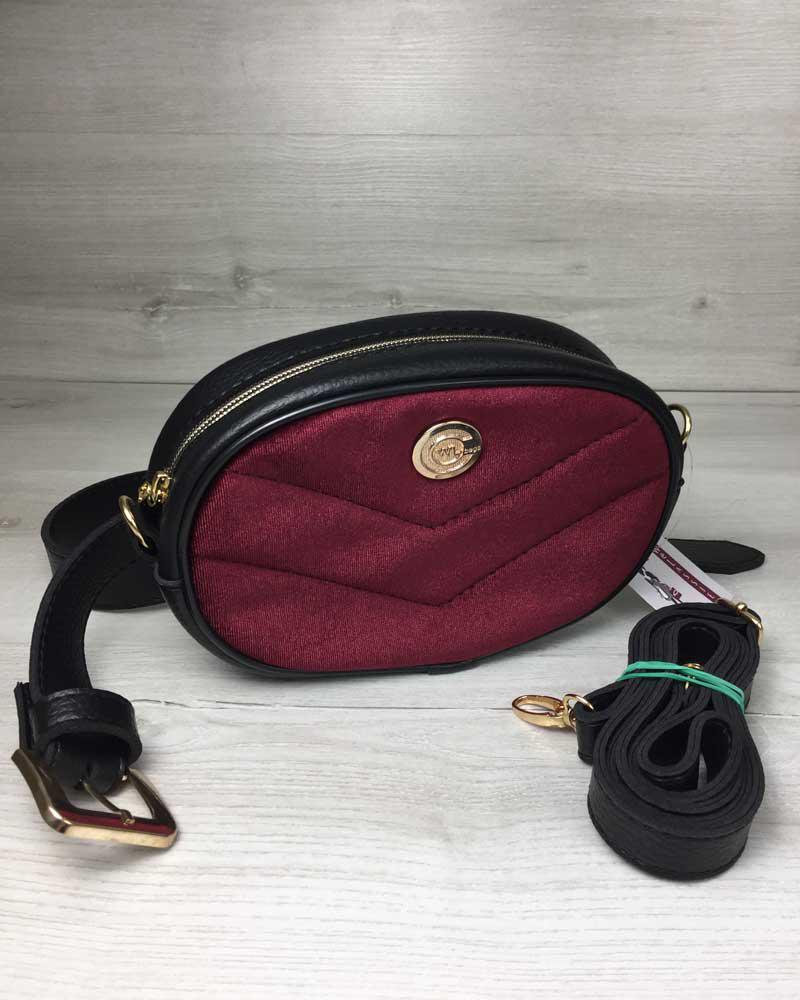 eb29eb3fe1d8 Женская сумка на пояс- клатч WeLassie черного цвета Бархат бордо, фото 1